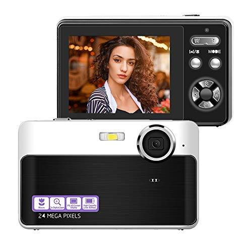Digitalkamera Fotoapparat Digitalkamera 24 MP Kamera Kompaktkamera 2,4-Zoll-LCD-Bildschirm Vlog Kamera mit 3-fachem Digitalzoom Makrofunktion Perfekt für Erwachsene, Kinder, Anfänger