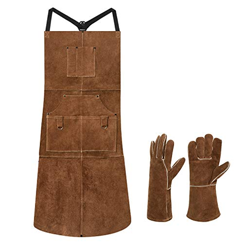 eletecpro Length 42' 6 Pockets Leather Welding Apron & Welding Gloves Cowhide Fire/Heat Resistant Shop Apron Men/Women(Brown)