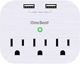 One Beat 3 Outlet Surge Protector, Multi Plug Outlet Adapter with 2 USB Wall Charger, Power Strip Wall Plug Extender for Home Travel Office Hotel