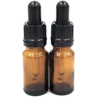 Two 10ml Amber Glass Bottles with Dropper Pipettes
