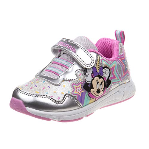 Disney Girls Minnie Mouse Sneakers, Silver/Pink, Size 8 Toddler