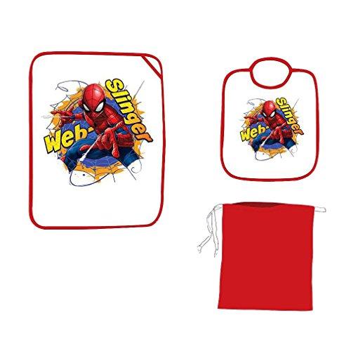 set asilo 3 pezzi bavaglino tovaglietta e sacchetto contenitore DISNEY/AVENGERS/MARVEL (Spiderman)