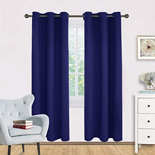 NICETOWN Living Room Blackout Draperies Curtains, Window Treatment Energy Saving Thermal Insulated Solid Grommet Blackout Draperies/Drapes (Royal Navy Blue, 1 Pair,42 by 72-Inch)