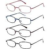 EFE Lesebrille 4er Pack, dünne leichte Federscharnierbrille zum Lesen mit Etui für Damen und Herren