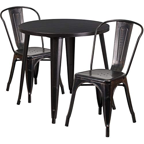 Flash Furniture 30'' Round Black-Antique Gold Metal Indoor-Outdoor Table Set with 2 Cafe Chairs