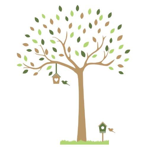 Arbre de forêt avec des nichoirs et herbe frontière stickers muraux par Stickerscape - Autocollants (Choix 3)