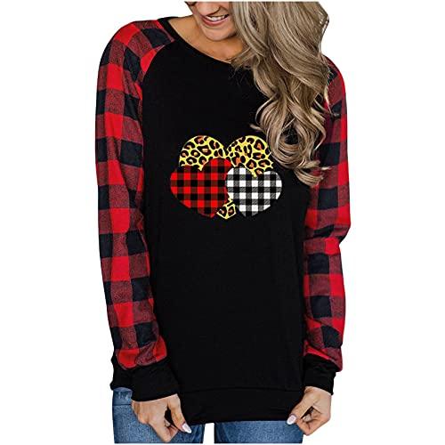 Women Crewneck Sweatshirts Lightweight Plaid Long Sleeve Color Block Heart Print Shirts Fall Casual Loose Fit Tops