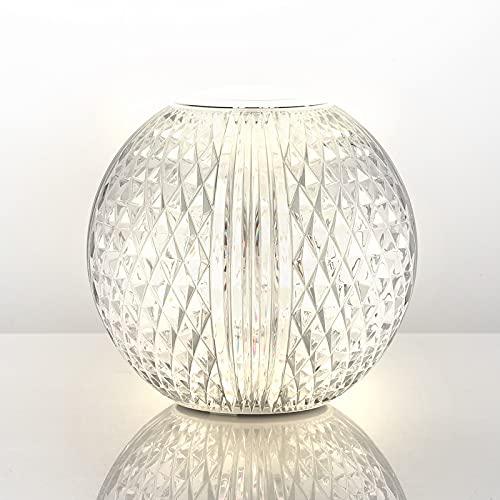 AGM Lámpara de Cristal , Lámpara de Mesa de Diamante | Luz Ajustable | Luz de Noche LED Redonda de 11cm / 4,3 inch Diámetro | Lámpara de Noche Recargable y Portátil para Dormitorio, sala de Estar