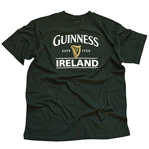 Flaschen Guinness-T-Shirt mit Ireland EST. 1759-Design und goldener Harfe, Grün, XL