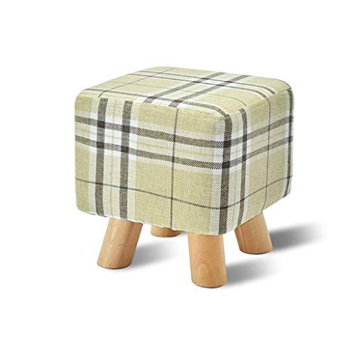 Piernas turcas de madera cuadrada otomana a prueba de polvo levantarse de una silla infantil tela de lino del amortiguador de asiento aspecto decorativo niños pequeños brillantes de los colores Tabure