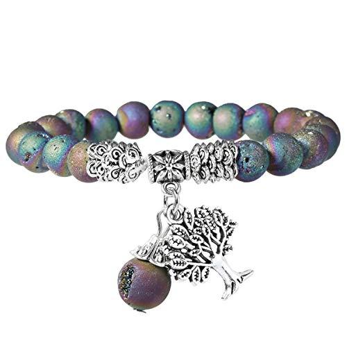 Nupuyai Tree of Life Healing Crystal Bracelet for Women Men,Chakra Stretch 8mm Bead Bracelet for Unisex Crystal Agate