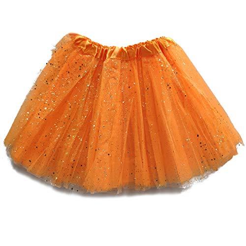 MUNDDY Tutu Elastico Tul 3 Capas 30 CM de Longitud para nia Bebe Distintas Colores Falda Disfraz Ballet (Naranja con Purpurina)