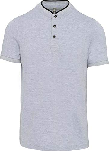 Kariban Polo col Mao Manches Courtes Homme - Oxford Grey/Black, XL, Homme