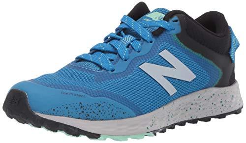 New Balance Boys' Arishi Trail V1 Fresh Foam Running Shoe, NEO Classic Blue/Black/Hula Green, 4 M US Big Kid
