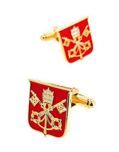 Gemelolandia | Gemelos para Camisa Escudo de la Santa Sede Vaticano Gemelos Originales Para Camisas | Para Hombres y Niños | Regalos Para Bodas, Comuniones, Bautizos y Otros Eventos
