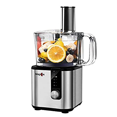 8 Cup Electric Food Processor, MAGICCOS 750Watt Food Chopper, 7 Processing Attachments for Chopping Pureeing Kneading Shredding and Slicing, 5 Variable Speeds Plus Pulse,Stainless Steel