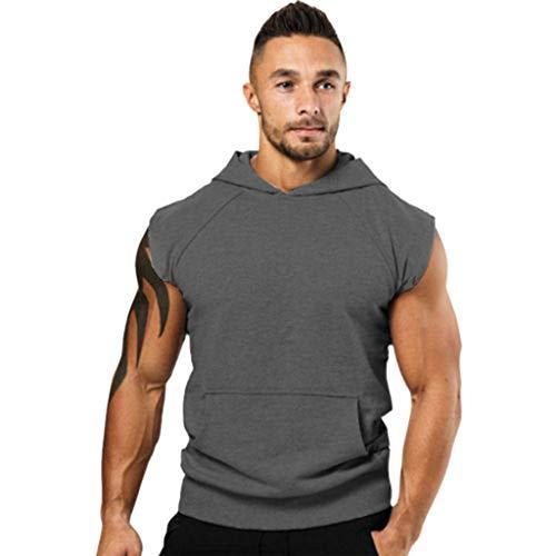 Kaniem Mens Casual Slim Fit Tank Top Hoodie Workout Lightweight Sleeveless Vest with Pocket (XXL, Dark Gray)