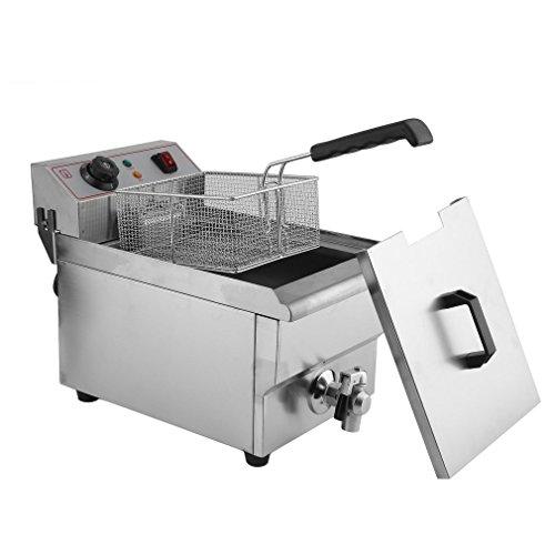 Edelstahl Fritteuse - 10 Liter, mit Kaltzonenfunktion und regelbarer Heizstufe, (3000 Watt, professionelle Fritteuse mit Öl, Clean-Oil-System, wärmeisoliert, Thermostat, Timer, knusprige Pommes)