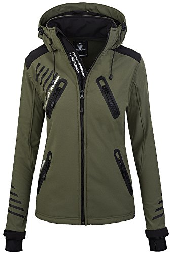Rock Creek Damen Softshell Jacke Outdoorjacke Windbreaker Übergangs Jacke - Dunkelgrün - 48/3XL