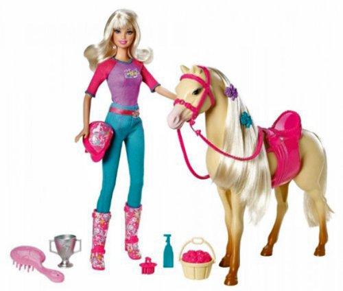 Mattel Barbie V5721 - Barbie & Tawny, Puppe mit Pferd, Bürste, Sattel und Reitkappe