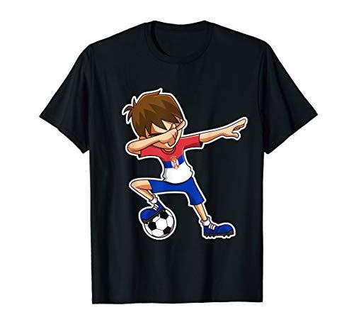 Dabbing Soccer Boy Serbien Trikot, Serbisch Kinder Geschenke T-Shirt