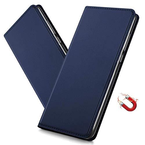 MRSTER Huawei Y6 2018 Hülle, Honor 7A Tasche Leder Schutzhülle, Handyhülle mit Magnetverschluss, Standfunktion & Kartenfach für Huawei Y6 2018 / Honor 7A. DT Blue