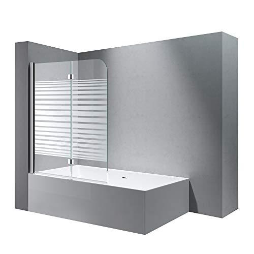 doporro BxH:120x140 cm Duschabtrennung/Duschwand für Badewanne aus Glas Cortona1408S-Links, Badewannenaufsatz, Wandanschlag links inkl. Nanobeschichtung Badewannenfaltwand
