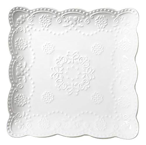Jusalpha 4 Pack- Square Embossed Lace Ceramic Plate-Tableware Dish Set- 4 Pieces (6 Inches, White)