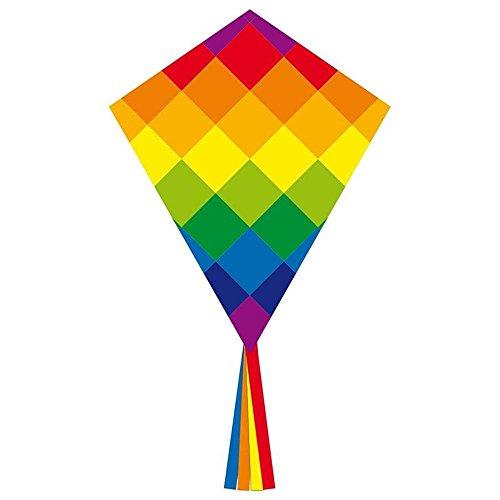 Ecoline 102116 - Eddy Rainbow Patchwork 70cm Kinderdrachen Einleiner, ab 5 Jahren, 70x58cm und 2.5m Drachenschwanz, inkl. 17kp Polyesterschnur 25m auf Griff, 2-5 Beaufort