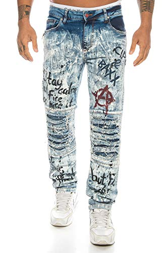 Cipo & Baxx Herren Jeans mit aufwendigen Destroyed Stellen und Punk Graffiti Prints (W38/L32)