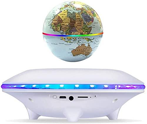 ZSMLB World globe decoration 4 Inch Magnet Levitation with LED Light,White Magnetic Levitation Globe for Children