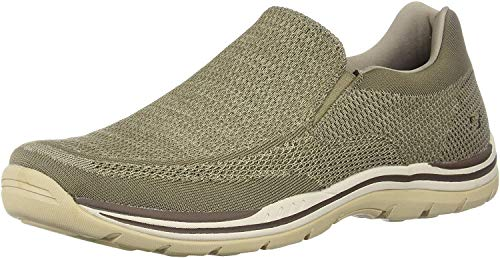 Skechers mens Relaxed Fit Expected - Gomel Slip On Loafer, Taupe Knitted Mesh, 10 US