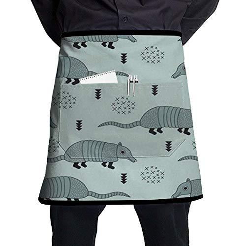 Armadillo Kaktus Woodland Herren & Damen Schürze mit halber Taille 53,3 x 44,7 cm mit Einer Tasche Kellnerschürze Kochschürze für Restaurant Shop Gartenarbeit