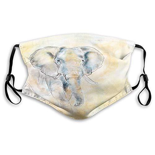 Máscara reutilizable de tela transpirable para pasamontañas, elefante, elefante, estilo acuarela, ilustración salvaje, criatura salvaje, safari, exótico, adolescentes. Tamaño: S