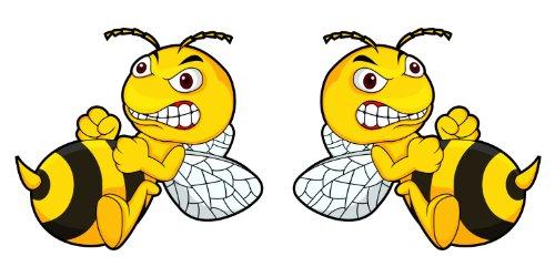 GDS MedienTeam GmbH 2er Set Aufkleber Böse Biene I 15 x 9 cm I außenklebend I für Auto, LKW, Motorrad, Moped, Mofa, Roller, Fahrzeuge, UV- und witterungsbeständig, für Waschanlagen geeignet I kfz_099