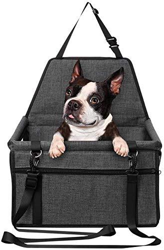 HYISHION Hunde Autositz für Kleine Mittlere Hunde, Robust Rückbank & Vordersitz Hundesitz mit Sicherheitsgurt, Wasserdicht Faltbar Autositzbezug,Grau