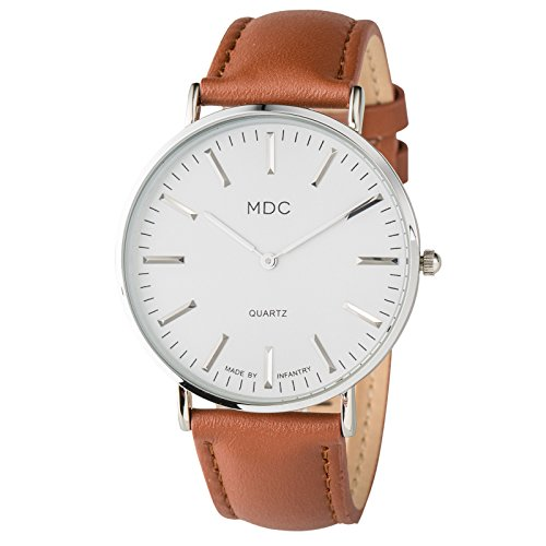 MDC Mens Analog Brown Leather Watch Man Minimalist Wrist Watches for Men Casual Simple Slim Thin Dress Wristwatch Male