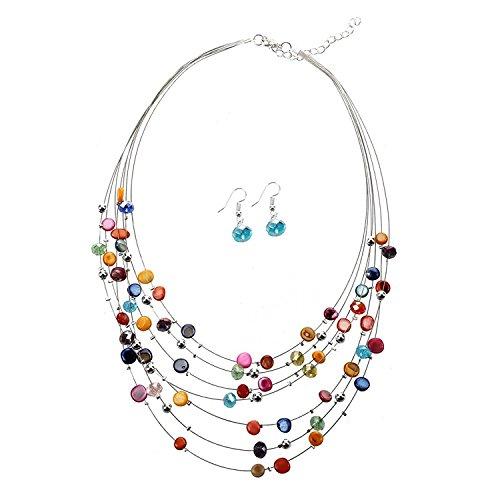TOOGOO(R) Multicolor in rilievo splendido Strand multi Drop collana / ciondolano l'orecchino Impostare