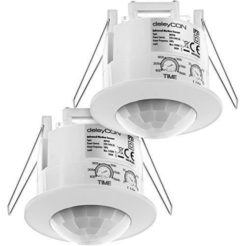 deleyCON 2X Infrarot Bewegungsmelder Unterputz Deckenmontage Innenbereich Lichtsteuerung 360° Arbeitsfeld 6m Reichweite eingebauter Lichtsensor Weiß