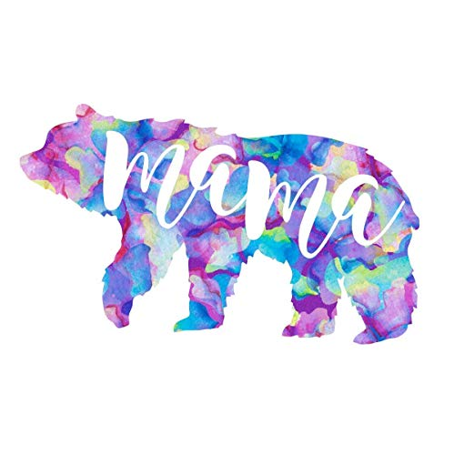 Mama Bear Silhouette Mom Quote Vinyl Decal   Cute Mama Sticker for Yeti Tumbler, Laptop, Mug, Car Window Accessories for Women   Gift for Mom   Purple Watercolor 2 inches x 3.5 inches