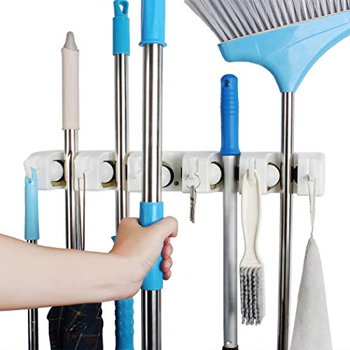 QTJH broom and mop holder wall mounted Storage cleaning Tools Commercial Mop Rack closet organizer tool hanger for Kitchen Garden laundry room and Garage,Handles Up to 1.41-Inches(white)