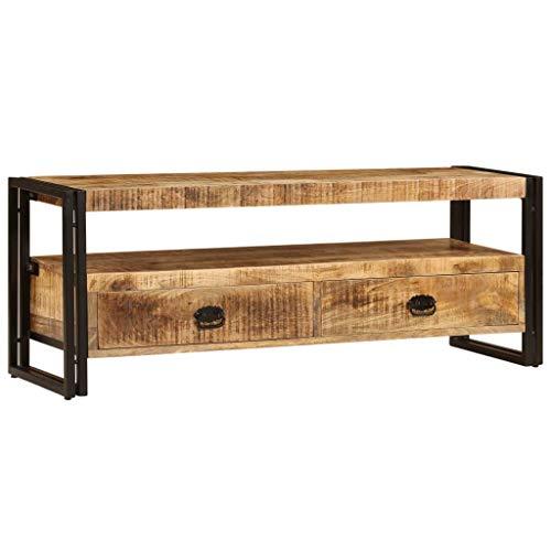Festnight TV-Schrank | Vintage Fernsehtisch | TV Lowboard Tisch | Retro Fernsehschrank | Holz TV Board | Massiv Mangoholz mit Stahlrahmen 120 x 35 x 45 cm