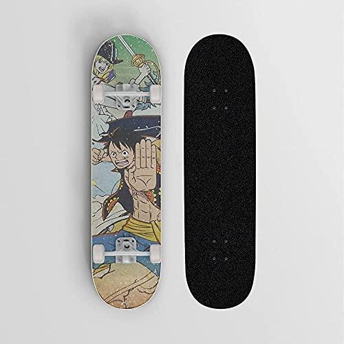 Nixi888 Skateboard de Anime Patinaje de Cuatro Ruedas con Doble inclinación, Tablero Deportivo Extremo al Aire Libre, patineta para Adultos para UNO Piece Monkey D. Luffy Strike