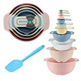 Mixing Bowls Set of 10 + Silicone Spatula, YJHome BPA Free Plastic Nesting Mixing Bowls,Stackable Storage Bowls Measuring Cups Sieve Colander Mesh Strainer for Salad/Cooking/Baking,Multi-Color