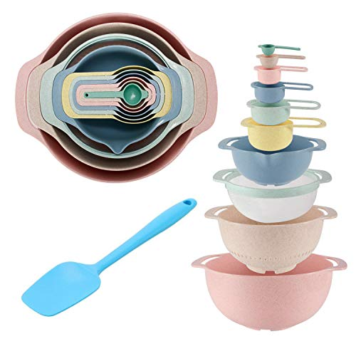 Mixing Bowls Set of 10 + Silicone Spatula, YJHome BPA Free Plastic Nesting Mixing Bowls,Stackable...