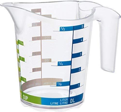 Rotho Domino Gobelet Gradué de 0,5L avec Echelle, Plastique (PP) sans BPA, Transparent, 0,5L (15,8 x 10,1 x 12,7 cm)