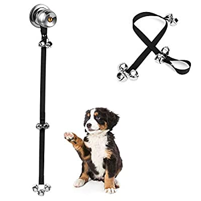 JEXCULL Dog Doorbell for Training, Pack of 3 Adjustable Puppy Doorbells Premium Doggy Train Tools Pet Supplies with 7 Loud Doorbells & 3 Snaps for Small, Medium, Large Dogs Go Outside, Black