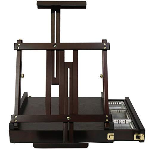 MEEDEN Caballete de mesa de estudio con cajón forrado de metal, caballete ajustable de madera de haya maciza y caballete de dibujo con almacenamiento,