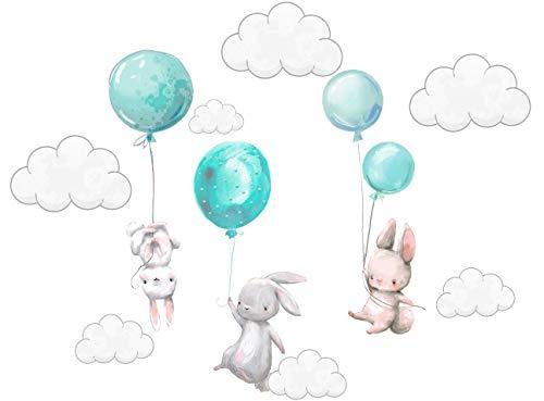 Szeridan Kaninchen Hase Ballons Wolken Wandtattoo Babyzimmer Wandsticker Wandaufkleber Aufkleber Deko für Kinderzimmer Baby Kinder Kinderzimmer Mädchen Junge 80 x 110 cm(S, Türkis)