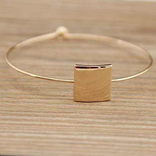 weichuang Pulsera de moda retro geométrica cuadrada contratada la pulsera de boda cumpleaños niña pulsera para mujer (color metal: amarillo claro color dorado)